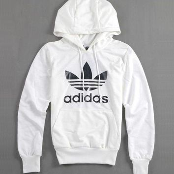 Women Couple Adidas Print Velvet Hoodie Sweatshirt Tops Sweater Pullover