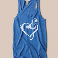 Music Treble Clef Bass Clef Heart Racerback Tank