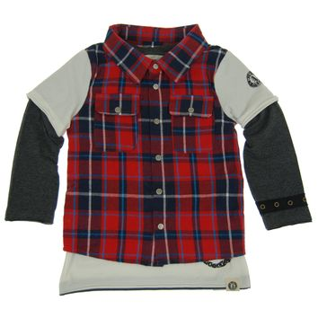 Red Plaid Vest Baby Twofer Shirt by: Mini Shatsu