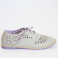 Gray Perforated Oxford Flats