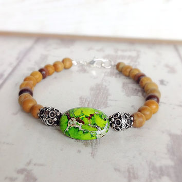 Natural stone bracelet, earthy colors, impression jasper, brown and green, gemstone jewelry, sandalwood jasper, friendship bracelet, rustic