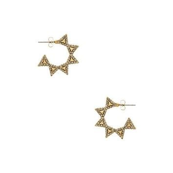 House of Harlow Geodesic Triangle Hoop Earring in Metallic Gold