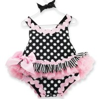 Mud Pie Baby-Girls Newborn Tres Jolie Ribbon Ruffle Sundress,Black/White/Pink, 9-12 Months