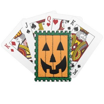 Square Orange Jack O' Lantern Halloween Card Decks