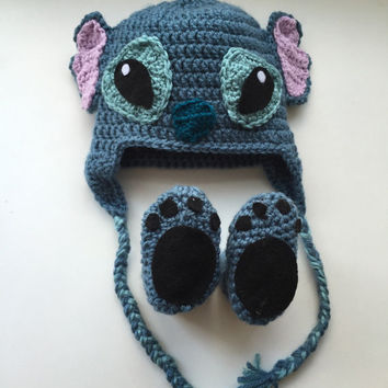 Handmade crochet stitich inspired disney character hat, lelo and stitch beanie, Stitch hat for kids, Stitch outfit, photo drop, baby photo h