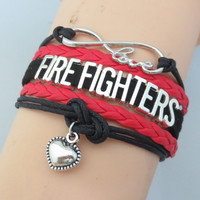 Infinity Love Firefighters Bracelet - Handmade