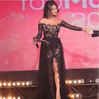 Long Sleeve Prom Dresses  Arabian Designer Off the Shoulder Sweetheart Lace Thigh High Slit vestidos de formatura