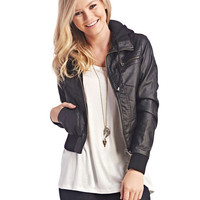 Faux Leather Hooded Bomber Jacket | Wet Seal