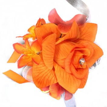 Wrist Corsage: Orange Open Rose with Small Flower Accents