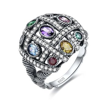 Merthus Retro Antique Vintage Multi Gemstone Hip-Hop Statement Ring Silver Rope Band Unisex