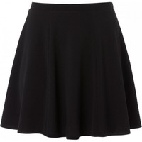 Plus Size Black Textured Skater Skirt
