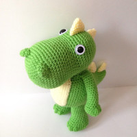 Amigurumi Dinosaur Crochet Dinosaur T-Rex Doll Stuffed Animal Stuffed Green Dinosaur Kids Toy Kawaii Plush Birthday Baby Shower Gift Ideas