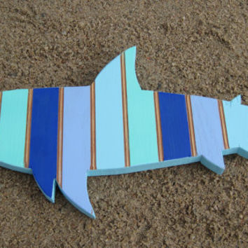 striped blue and turquoise shark handcrafted from reclaimed wood ocean nautical beach themed decor bathroom boys - Beach Decorations