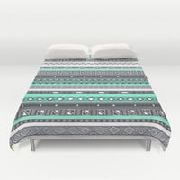 Tiffany Turquoise Aztec Print Duvet Cover by RexLambo