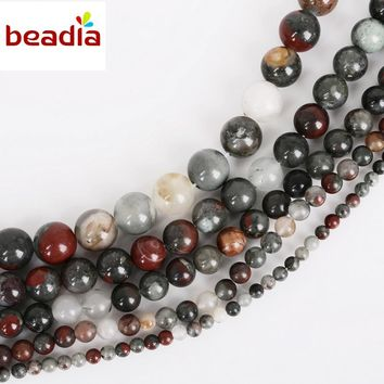 New Arrival Dia 4/6/8/10/12mm Hole 1mm 32-95pcs/bag Natural Bloodstone Stone Beads For DIY Bracelet Necklace Jewelry Making