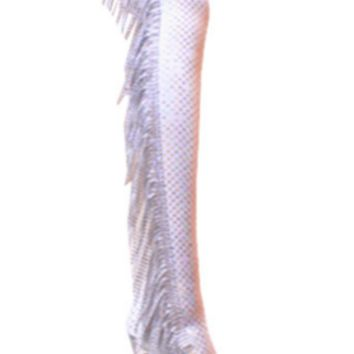Silver with Silver Rhinestones Thigh High High Heel Boots