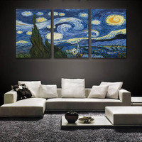 Starry Night Vincent Van Gogh  Printed on Canvas