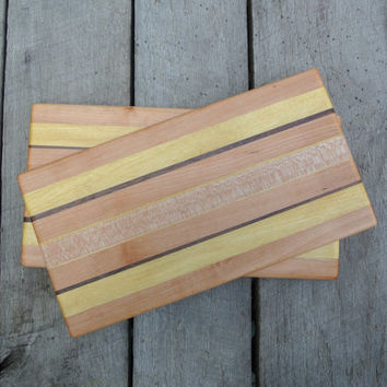 Sandwich Boards/ Sandwich Plates / Small Prep Boards/ Small Cutting Boards in Cherry, Yellowheart, Walnut, and Maple
