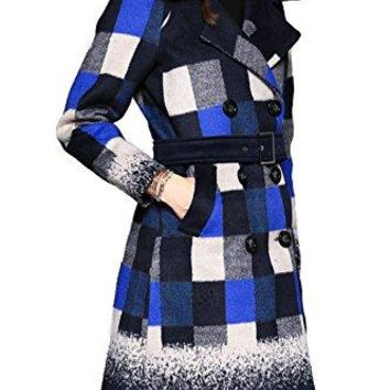 Tuliplazza Women Double Breasted Plaids Military Wool Trench Coat Jacket Outwear