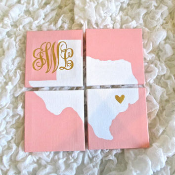 Monogrammed State Silhouette w/ Heart Detailing Painted on 4 Mini Canvases