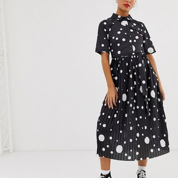 ASOS DESIGN midi shirt dress with pleated skirt and belt in polka dot | ASOS