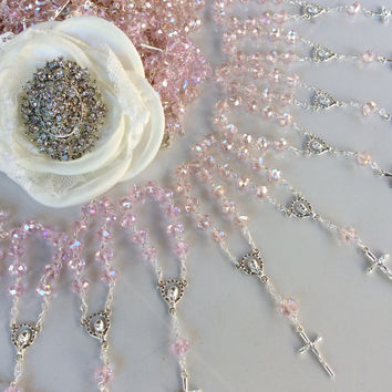 30 pcs crystal  First communion favors Recuerditos Bautizo 30pz/ Mini Crystal Rosary Baptism Favors 30 pcs