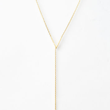 Gold Open V with Drop Spike Necklace