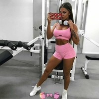 Pink Workout Outfit Matching Set