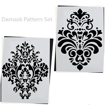 Damask Pattern 2PK | Reusable Furniture Stencils