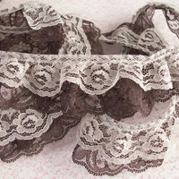 Double Ruffled Lace Trim, Beige and Brown Lace, Apparel, Costumes, Fascinator Trim, Journals, Doll Clothes, Decorative Lace Trim, 2 YARDS