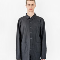 Elongated Button Down Canvas Shirt in Black