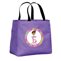 Girl Gymnast with Black Hair Personalized Purple Tote Bag