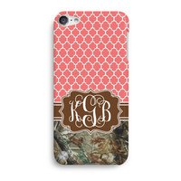 Real Tree Camo Morrocan Pattern Customized Monogram  iPod Touch 5 Case, iTouch 4 Case