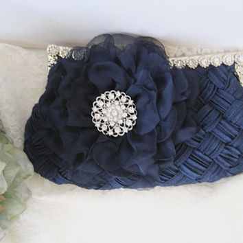 Navy Blue Pleated Satin Front Rhinestone Framed Wedding Bridesmaid Clutch  with Matching Chiffon Flower and Rhinestone Accent