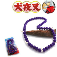 HOT Anime Inuyasha Cosplay Accessories Beaded Bracelet Necklace Charm Pendant Purple