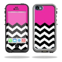 Mightyskins Protective Vinyl Skin Decal Cover for LifeProof iPhone 5C Case fre Case wrap sticker skins Hot Pink Chevron