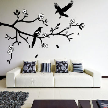 Vinyl Wall Decal Tree Branch with Falling Leafs, Birds and White Flowers / Two Colors Art Decor Sticker / Mural  + Free Random Decal Gift!