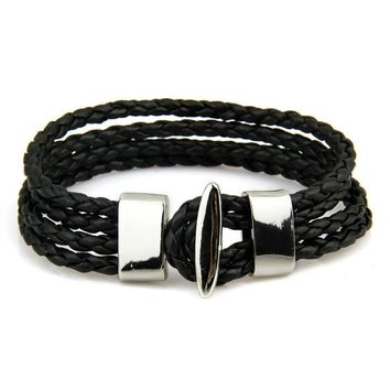 Brave Leather Droplet Metal Charm Chain Woven Bracelet for Men's by Ritzy
