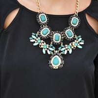 Flaunt Your Jewels Necklace: Teal/Black | Hope's