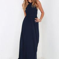 Air of Romance Navy Blue Maxi Dress