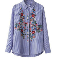 Long Sleeve Floral Embroidered Striped Blouse