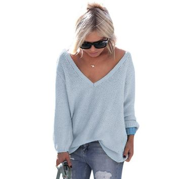 Sexy Women Knitted Sweaters Pullovers Long Sleeve V Neck Oversized Women Sweater Plus Size LJ5667C