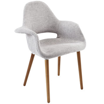 LexMod Veer Accent Chair, Light Gray