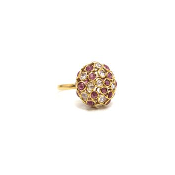Tresor Collection - Rainbow Moonstone & Pink Tourmaline Ring In 18K Yellow Gold