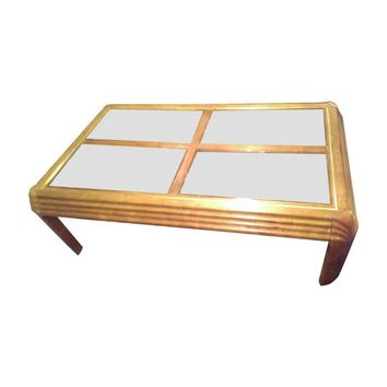 Pre-owned Brass Beveled Glass & Solid Wood Coffee Table
