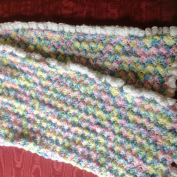Crocheted baby blanket with ruffle trim by TheInspiredWire on Etsy