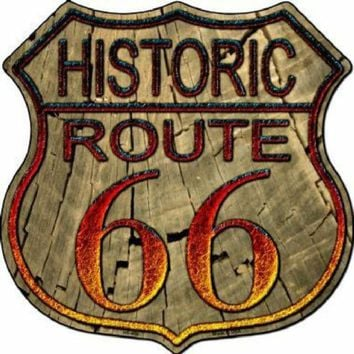 Route 66 Wood Look Highway Shield Sign  11 inch  die cut  sign