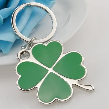 Stainless Green Leaf Keychain Fashion Creative Beautiful Four Leaf Clover Steel Lucky Key Chain Keyring car
