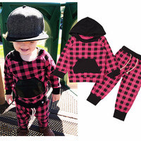 Fashion Plaid Baby Girls Clothes Newborn Infant Babe Hooded Sweatshirt Tops+Pants 2pcs Outfits Tracksuit Kids Clothing Set 6M-3Y