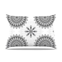 "Julia Grifol ""Black Mandala"" White Black Pillow Case"